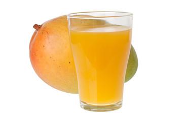 Glass of mango juice and a whole mango isolated on white