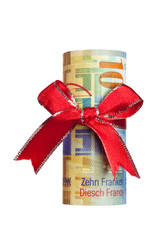 Ten Swiss francs wrapped by ribbon isolated on white