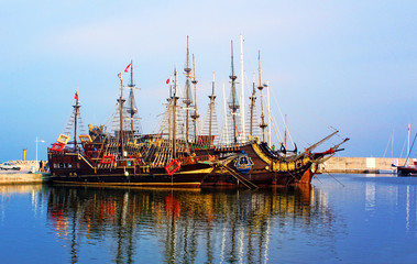 Ancient ships on the harber