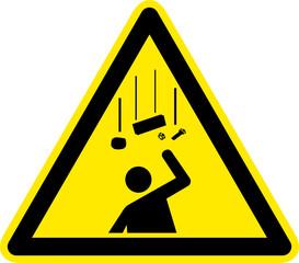 Warnschild Warnzeichen Herabfallende Gegenstände