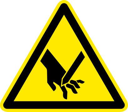 Warnschild Warnzeichen Handverletzung Schnittverletzung