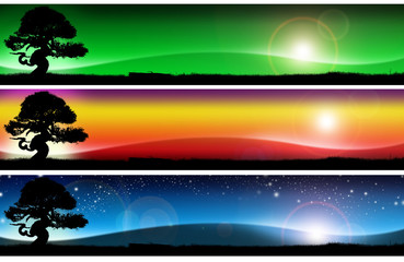 Three fantastic landscapes banners