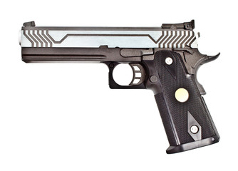 .45 semi automatic handgun on white