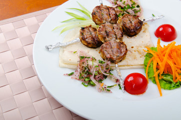 Canvas Prints Meat cuisine - kebab served in plate