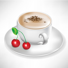 cup of coffee with cherry