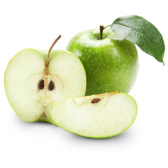 Green apples and half of apple Isolated on a white background