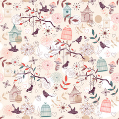 Printed roller blinds Birds in cages Birds pattern