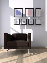 Interno con divano e quadri
