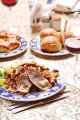 Uzbek national dish - plov with horse meat