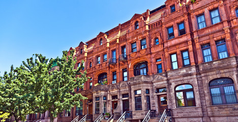 Harlem district and its typical house - New York.