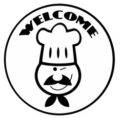 Outlined Winked Chef Man Face Cartoon Circle