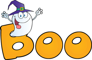 Scaring Ghost Wearing A Witch Hat In The Word BOO