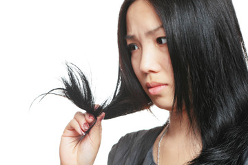 Young woman have hair problem