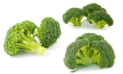 Fresh, Raw, Green Broccoli Pieces, Cut and Ready to Eat
