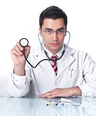 Doctor holding stethoscope,isolated on white background