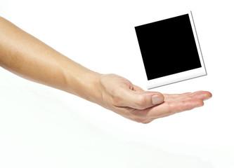 Fotografia su mano, fondo bianco