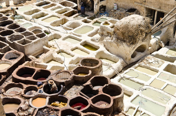Old tanneries in Fez, Morocco