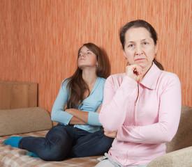 Mother and teen daughter having quarrel