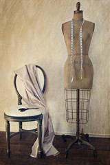 Antique dress form and chair with vintage feeling