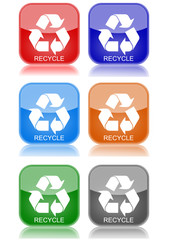 """Recycle  """"6 buttons of different colors"""""""