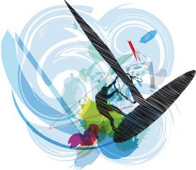 windsurfing illustration. Vector