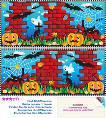 Find the differences visual puzzle - Halloween