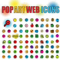 Pop art web icons