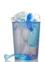 Metal trash bin from plastic bottles isolated on white