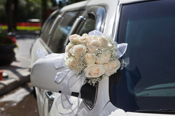 Wedding Bouquet on Limo