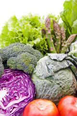 vegetales y hortalizas frescas variadas de la dieta sana