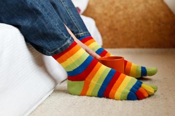 legs socks coffee