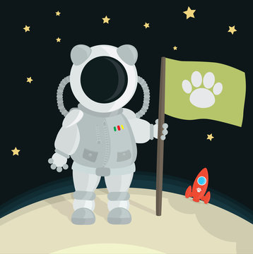Cat Astronaut Planting Flag On The Moon
