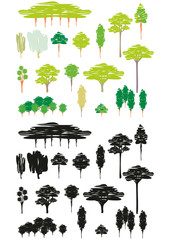Cartoon set of trees silhouettes - color and black