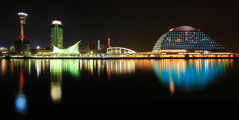 Night scene view of Kobe harbor area at dusk
