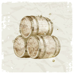 Hand drawn wooden barrels on vintage paper background