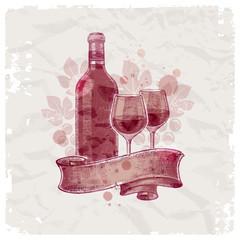 Hand drawn wine bottle & glasses on vintage paper background