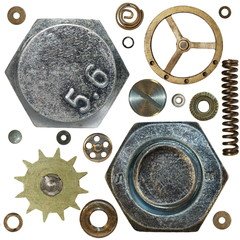 Gears, Screw heads, spring, bolts, steel nuts, old metal
