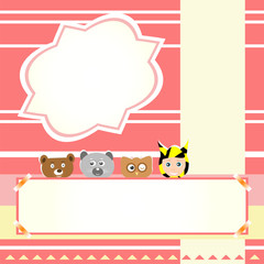 animals and child beautiful greeting card background vector