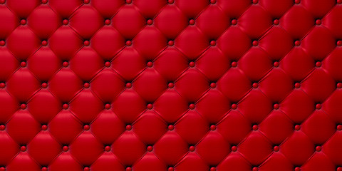 Foto auf Leinwand Leder Buttoned on the red Texture. Repeat pattern