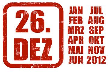 Grunge Stempel rot KALENDER 26.