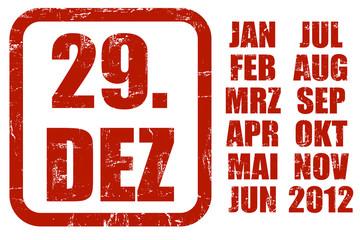 Grunge Stempel rot KALENDER 29.