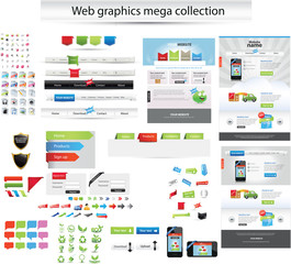 Large collection of web graphics and editable web templates