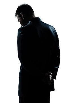 silhouette man portrait backside sad despair lonely