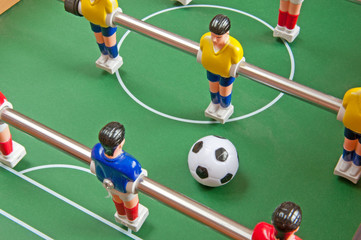 Table football - a children's toy, closeup