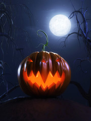 3d rendered halloween scene with a scary pumpkin