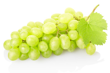 Fresh green grape isolated on white, clipping path included