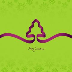 Purple Ribbon Christmas Tree & Snowflakes Green