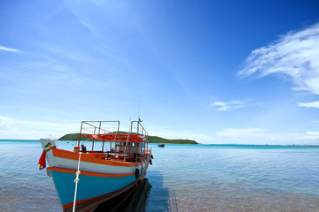 Fishing boat with blue sky