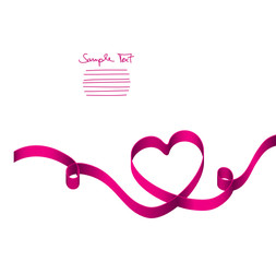 Pink Ribbon Heart 2 Swirls