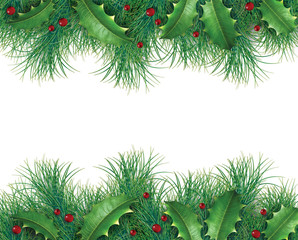 Pine branches with holly